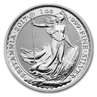 2017 United Kingdom 1 Ounce.  999 Silver Britannia Gem Coin $9.  99 photo