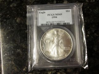 1994 American Silver Eagle $1 Graded Ms - 69 By Pcgs photo