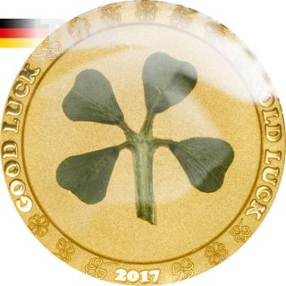 Palau 2017 1$ Ounce Of Luck 2017 Four - Leaf Clover 1g Proof Gold Coin photo