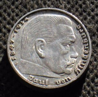 Old Silver 2 Reichsmark Coin Nazi Germany Swastika 1938 E Dresden Third Reich photo