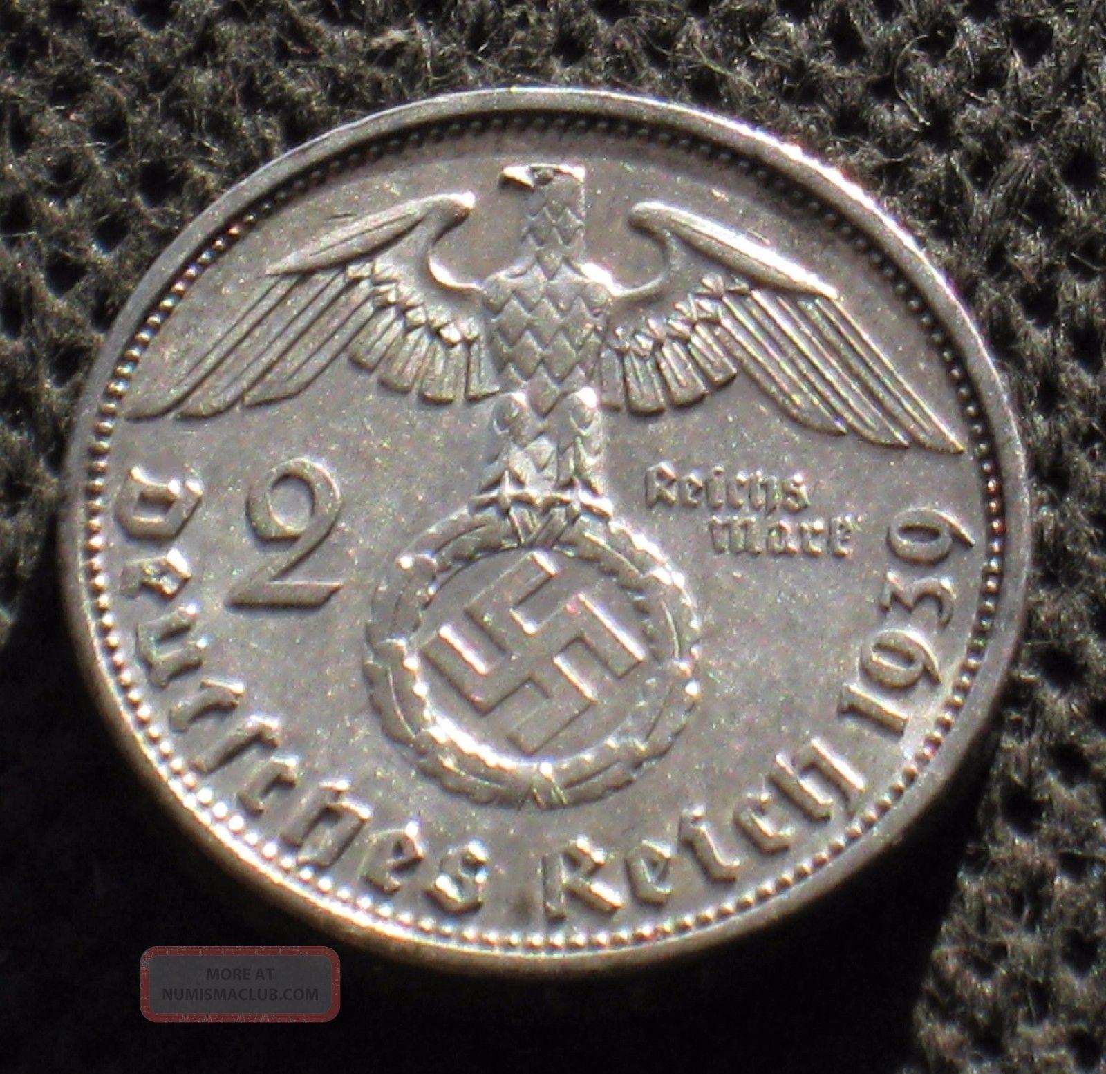 Old Silver 2 Reichsmark Coin Nazi Germany Swastika 1939 A Berlin World War Ii Germany photo