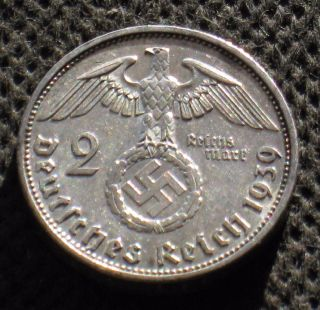 Old Silver 2 Reichsmark Coin Nazi Germany Swastika 1939 A Berlin World War Ii photo