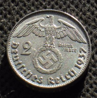 Old Silver 2 Reichsmark Coin Nazi Germany Swastika 1937 D Munich Third Reich photo