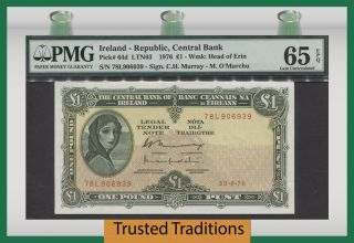 Tt Pk 64d 1976 Ireland - Republic 1 Pound Pmg 65 Epq Gem Uncirculated photo