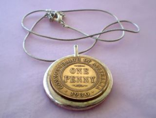 Australian Kgv 1930 Penny As Pendant Bale & Chain Modern Fantasy Strike photo