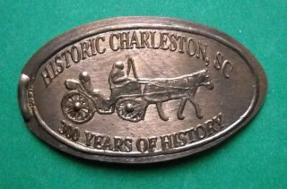 Charleston Elongated Penny Sc Usa Cent 300 Years Of History Souvenir Coin photo