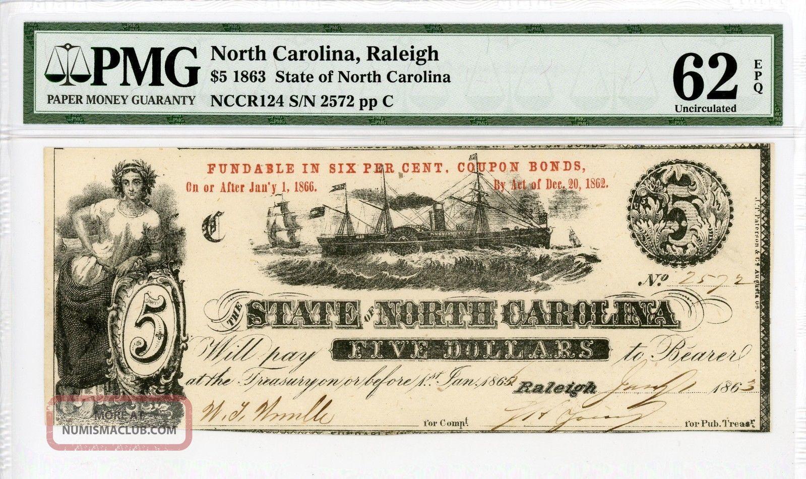1863 $5 The State Of North Carolina Note - Civil War Era Pmg Unc 62 Epq Paper Money: US photo