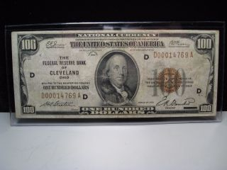 1929 Brown Seal $100.  00 Us National Currency Note.  Frb Of Cleveland.  D00014769a. photo