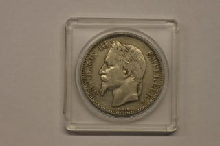 1868bb France 5 Francs,  Fine,  Silver World Crown photo