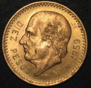 1959 M Mexico 10 Diez Peso Gold Coin 90 (. 2411 Agw) Sku 399628 photo