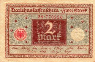 Xxx - Rare 2 Mark Banknote Darlehnskassenschein 1920 Nearly Unc photo