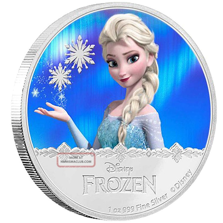 Niue D Isney,  1 Oz Silver Coin,  2016,  F Rozen Elsa Magic,  Qeii Coins: World photo