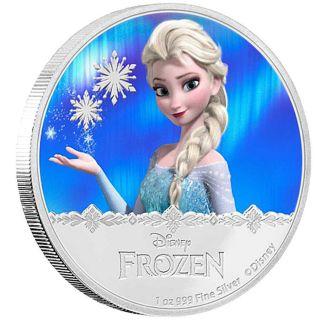Niue D Isney,  1 Oz Silver Coin,  2016,  F Rozen Elsa Magic,  Qeii photo