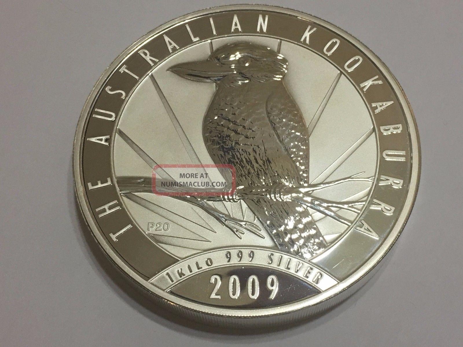 1 Kilo (32.  15 Oz) Austrailian 2009 Kookaburra 999 Fine Silver Coin Coins: World photo