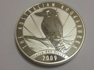 1 Kilo (32.  15 Oz) Austrailian 2009 Kookaburra 999 Fine Silver Coin photo