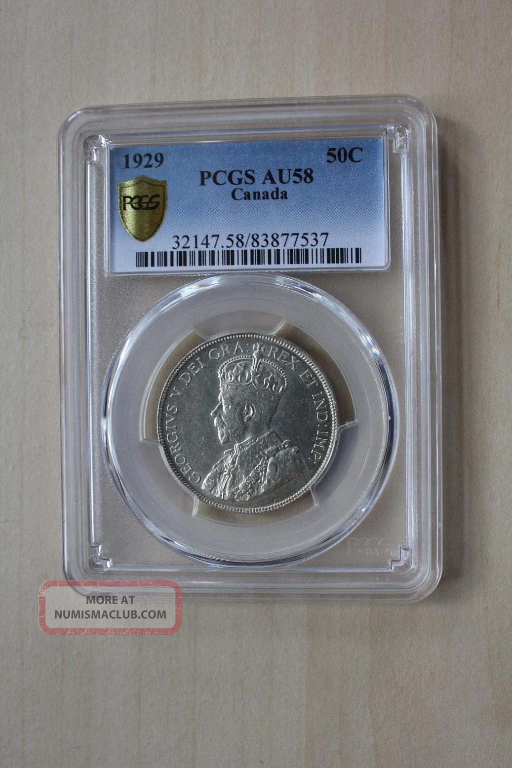 Canada 50 Cents 1929 Pcgs Grade Au 58 Nsw - Leipzig Coins: Canada photo