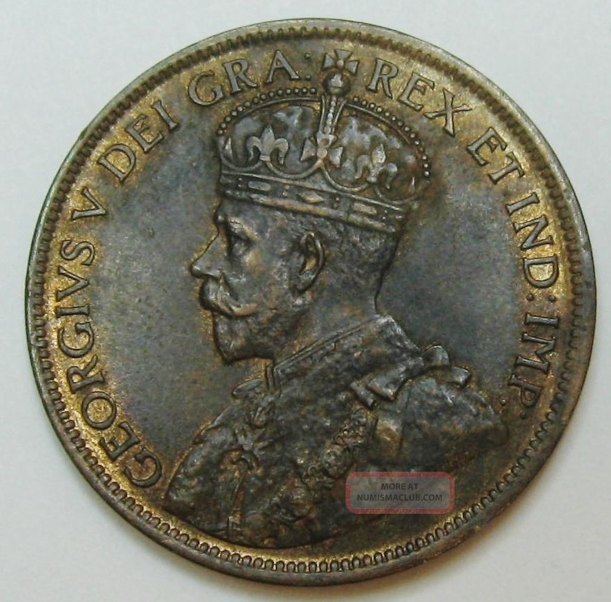 1916 Canada Large Cent King George V Grading Ch Au R/b Can1 Large Cents photo