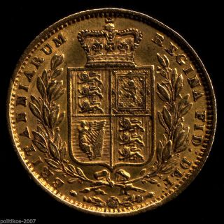1851,  Gold Full Sovereign,  Victoria Young Head - Shield (ef?) Iolas photo