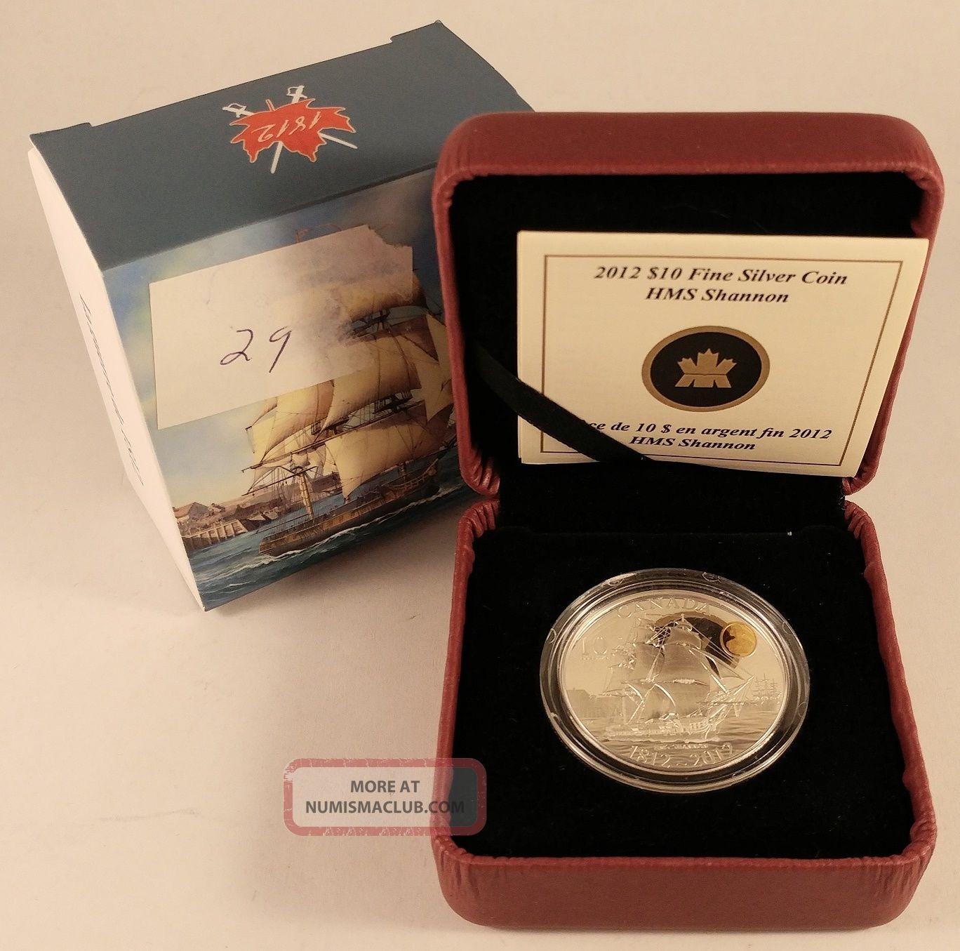 Canada 2012 $10 War Of 1812 99.  99 Silver Coin - Hms Shannon Coins: Canada photo