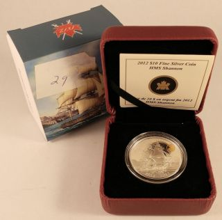 Canada 2012 $10 War Of 1812 99.  99 Silver Coin - Hms Shannon photo