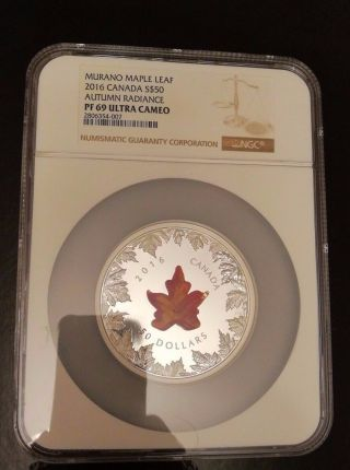 2016 Canada $50 5 Oz Silver Murano Maple Leaf: Autumn Radiance Ngc Pf69 photo