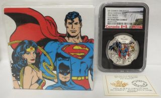 2016 Canada $20 The Trinity Dc Comics Silver Proof Ngc Pf70 Black Core - Jx176 photo