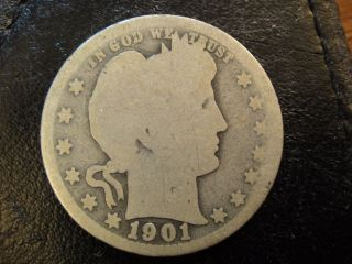 1901 - S United States Liberty Head Barber Quarter.  About Good To Good.  Scarce photo