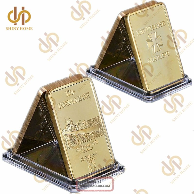 German Die Bismarck Battleship Gold Bullion Bar 1oz Germany Navy Deutsche Marine Germany photo
