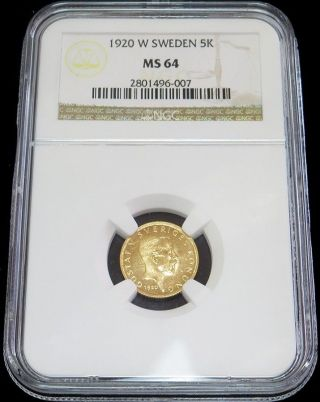 1920 W Gold Sweden 5 Kronor King Gustaf V Coin Ngc State 64 photo