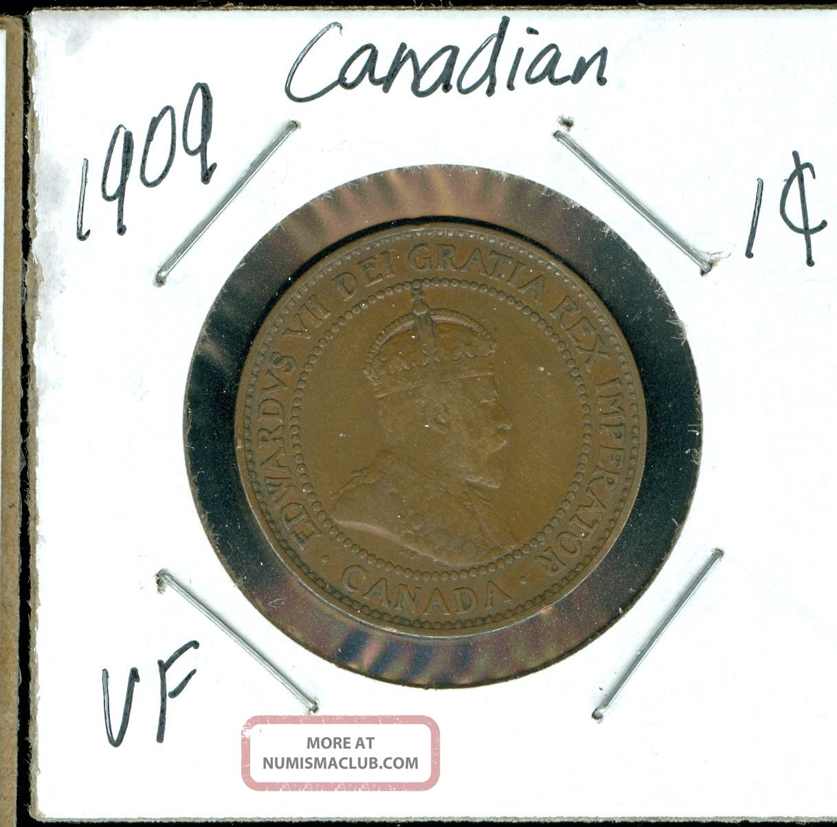 1909 Canada 1 Cent Vf. Coins: Canada photo