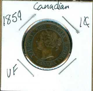 1859 Canada 1 Cent Vf. photo