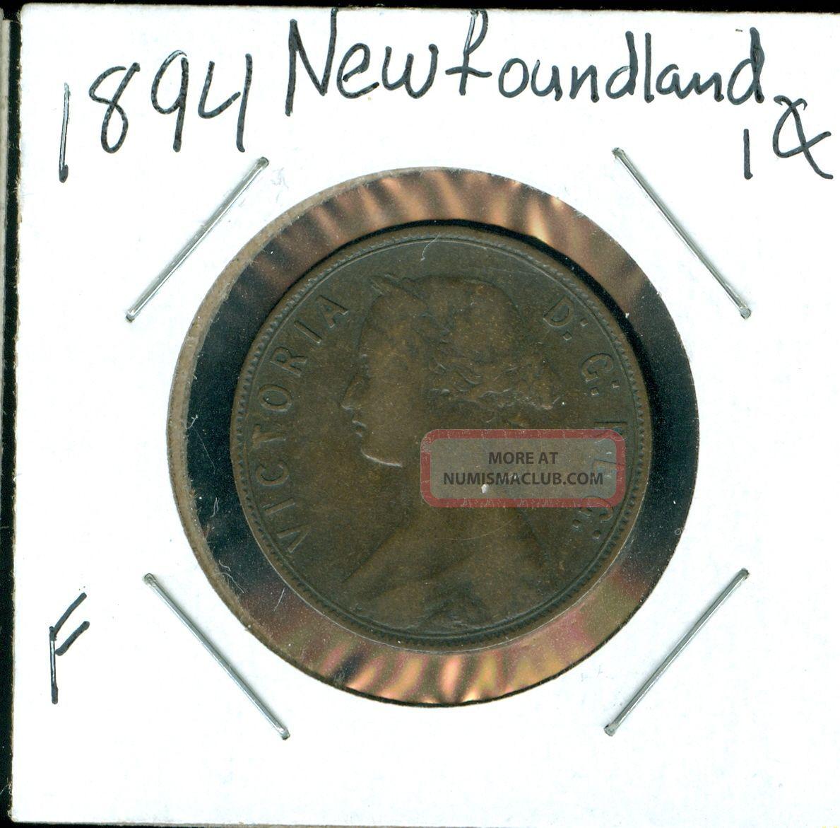 1894 Newfoundland Canada 1 Cent F. Coins: Canada photo
