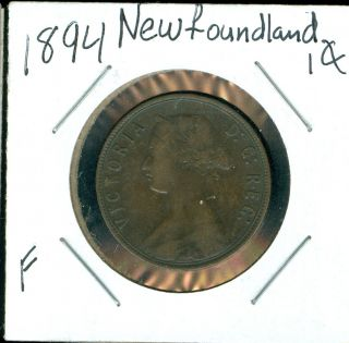 1894 Newfoundland Canada 1 Cent F. photo
