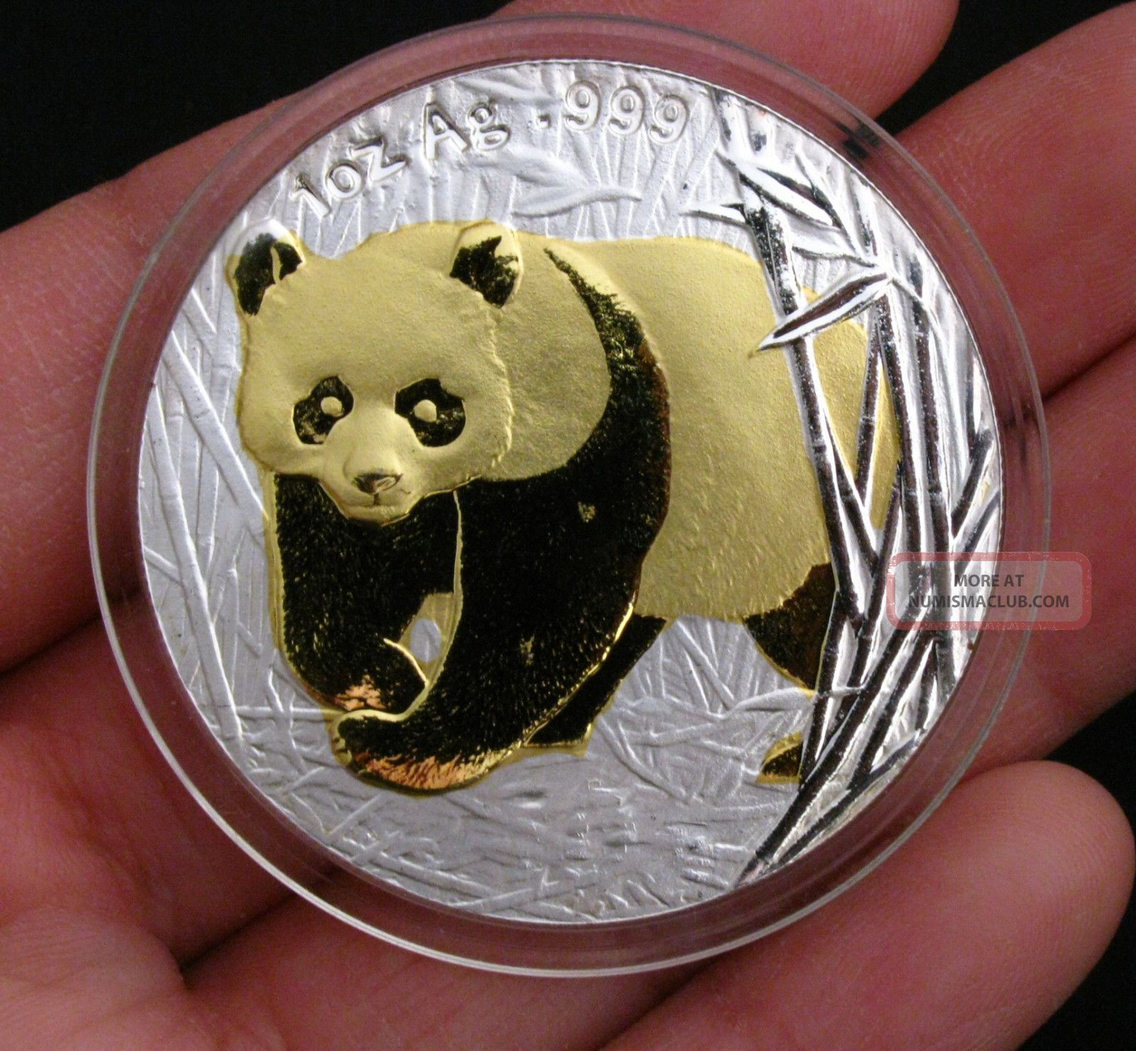 2001 Chinese Giant Panda 24k Gold & Silver Commemorative Medal Bimetallic Coin Coins: World photo