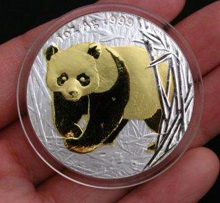2001 Chinese Giant Panda 24k Gold & Silver Commemorative Medal Bimetallic Coin photo