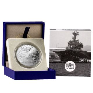 2016 France 10e Proof Silver Great French Ships Charles De Gaulle Ogp Sku43372 photo