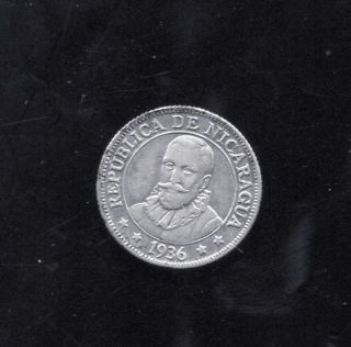 Nicaragua - Historical Scarce Silver 10 Centavoss,  1936 photo