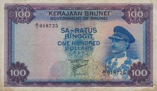 Government Of Brunei Brunei $100 1967 Choice Good Vf photo