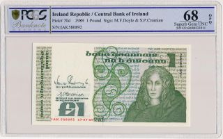 Central Bank Of Ireland Ireland Republic 1 Pound 1989 Pcgs 68opq photo