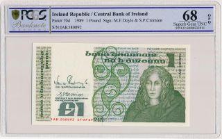 Central Bank Of Ireland Ireland Republic 1 Pound 1989 Pcgs 68opq photo
