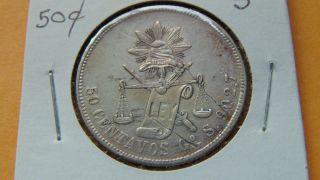 Mexico 50 Centavos,  1878 Go S Guanajuato Silver Coin photo