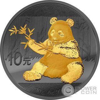 Panda Golden Enigma Ruthenium Silver Coin 10 Yuan China 2017 photo