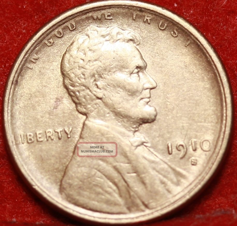 1910 - S San Francisco Copper Lincoln Wheat Cent Small Cents photo
