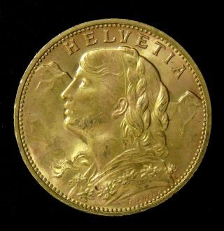1914 Swiss Gold Coin 20 Francs Helvetia Sku 399682 photo