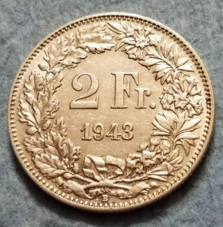1943 Switzerland 2 Franc Silver Coin photo