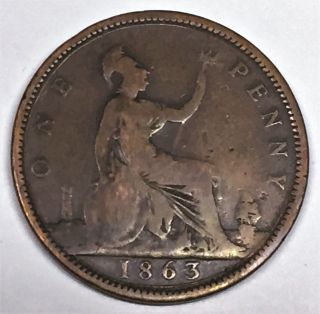 C3107 Great Britain Coin,  Large Penny 1863 photo
