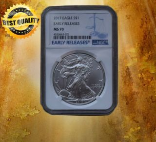 2017 1 Oz Silver American Eagle $1 Coin Ngc Ms 70 Early Release photo