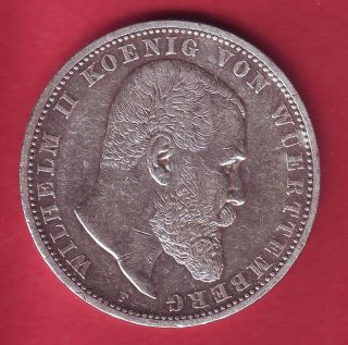 R Germany Wurttemberg 5 Mark Silver 1904 F Vf/xf Details photo