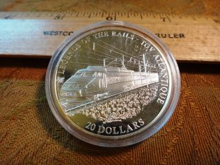 2001 Liberia $20 Legends Of The Rails Tgv 20g.  999 Silver Coin photo