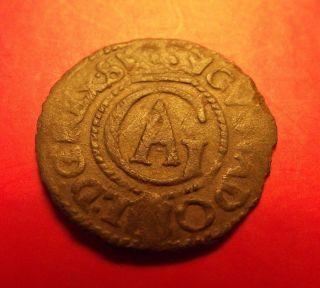 Sweden Livonia Rare 1632 Gustav Ii Adolf Riga Schilling Solidus Silver Coin Ag photo